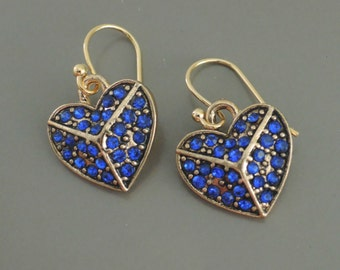 Sapphire Earrings - Heart Earrings - Gold Earrings - Pave Earrings - Blue Earrings - Drop Earrings - Handmade Earrings