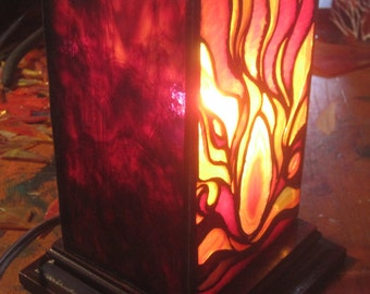 Stained glass lantern with an inset geode piece.
