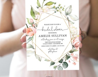 Pink Floral Bridal Shower Invitation - Geometric Blush Pink Flowers - Baby Shower - Peony Roses Greenery Invitation Watercolor Printable