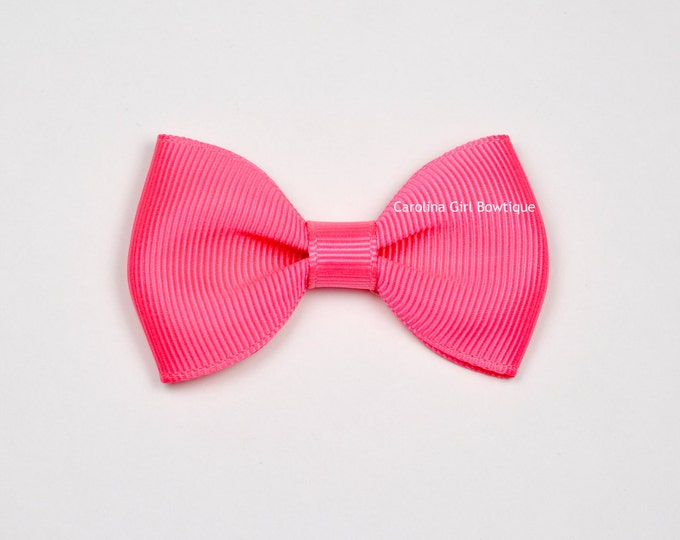 """Neon Pink  2.5"""" Hair Bow Tuxedo Bow ~ Simple Bow ~ Boutique Bow for Babies Toddlers Girls Hair Bows"""