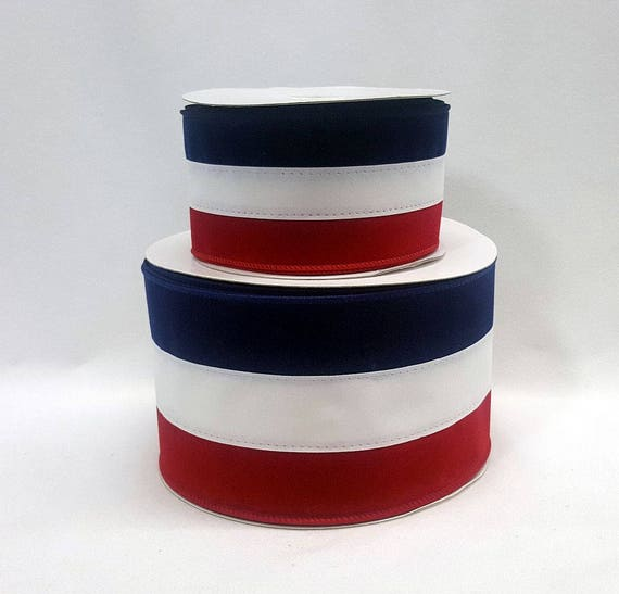 25 Or 4 Inch Wired Ribbon Crushed Velvet Type Red White Blue Tri Stripe July 4th Patriotic 3 Yards From