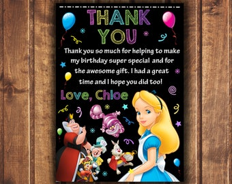 Alice in Wonderland thank you card, Alice in Wonderland Birthday, Mad Hatter thank you card, tea party thank you card-digital a