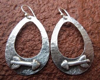 Sterling Silver Teardrop Hoop Earrings with Rustic Arrow