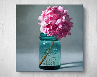 Jar of Pink Hydrangeas - Flower Oil Painting Giclee Gallery Mounted Canvas Wall Art Print
