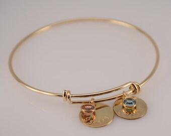 Mother's bracelet, Grandmother bracelet. Gold expandable bracelet, Personalized bracelet, New mom gift, New mommy bracelet