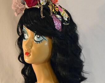 Dia De Los Muertos Day of the Dead Skeleton Flower Lace Fascinator Headpiece Headband