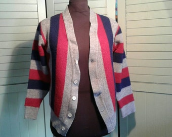 1960's Lord Jeff Cardigan Sweater Grey Red Blue Bold Striped Stripes Stripe Wool Vintage Mid Century Hip Unisex V Neck Button Royal American