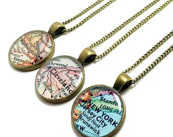 CUSTOM Vintage Map Necklace. You Select Any City, State, or Country in the World. One Necklace. Map Pendant. Map Jewelry. Birthday Gifts