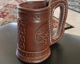 Fully Tooled/Carved Leather Mug/Blackjack for SCA, LARP or Re-enactors