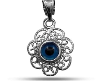 Filigree Double Sided Evil Eye Pendant In Sterling Silver