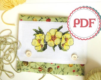 Cross Stitch Pattern Yellow Flowers \ Stitched Crochet Hook Holder PDF Instruction \ DIY PDF Stitching & Sewing Pattern
