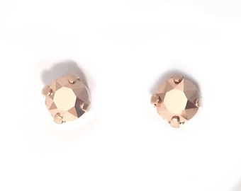 rose gold studs, teen jewellery, small stud earrings, minimalist earring, rose gold earring, flower girl, little earrings, metallic studs