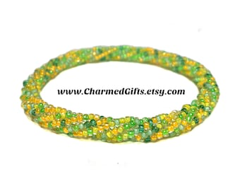 Roll On Bracelet - Greens and Yellows