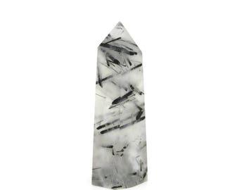 Tourmilated Quartz Point / Healing Crystal / Tourmaline in Quartz /103g