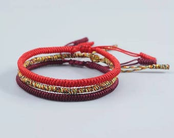 3PCS Multi Color Classic Tibetan KNOTS LUCKY HANDMADE Bracelet Multi, Red and Dark Red (Protection)