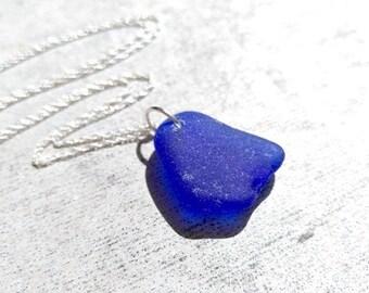 Cobalt Blue / Sea Glass Necklace / Genuine SeaGlass / Sterling Silver / Beach Glass Pendant / Silver Necklace / Sea Glass / Bridesmaid Gift