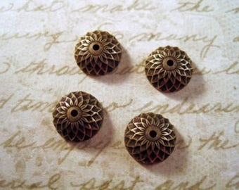 4 cups pr beads 10 mm round carved flowers, antique patina