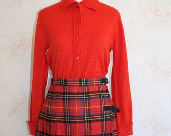 Vintage 60s Sweater, 1960s Marl Knit Blouse, Button Down, Red, Minimalist