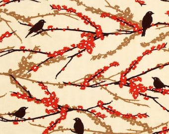 54018-  1/2 yard - Joel Dewberry Aviary 2 Sparrows in  Bark color