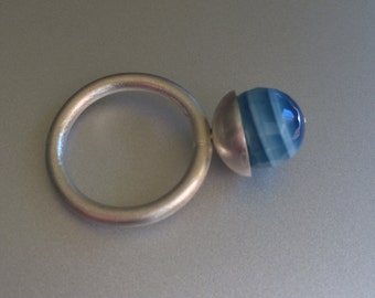 Precious stone ring - Silver plated ring - Handmade jewelry - Design ring