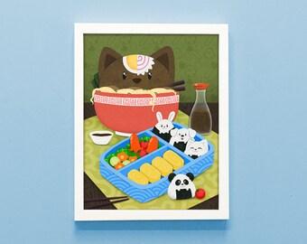 Ramen Cat Print, Ramen art, kitchen art, cat art, cute print, Ramen lover