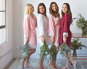 Bridesmaid Robes | Bridesmaid Gifts | Bridal Party gift | Mother of the Bride Robe | Cotton Lace Robes | Wedding Robe | Bridal Party Robe