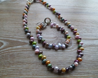 Multi coloured fresh water pearl necklace 18 Inch UK made