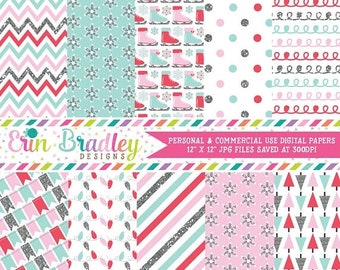 80% OFF SALE Glittery Winter Digital Papers, Commercial Use Digital Paper Pack, Winter Wonderland in Pink Aqua Blue and Silver Glitter, Inst