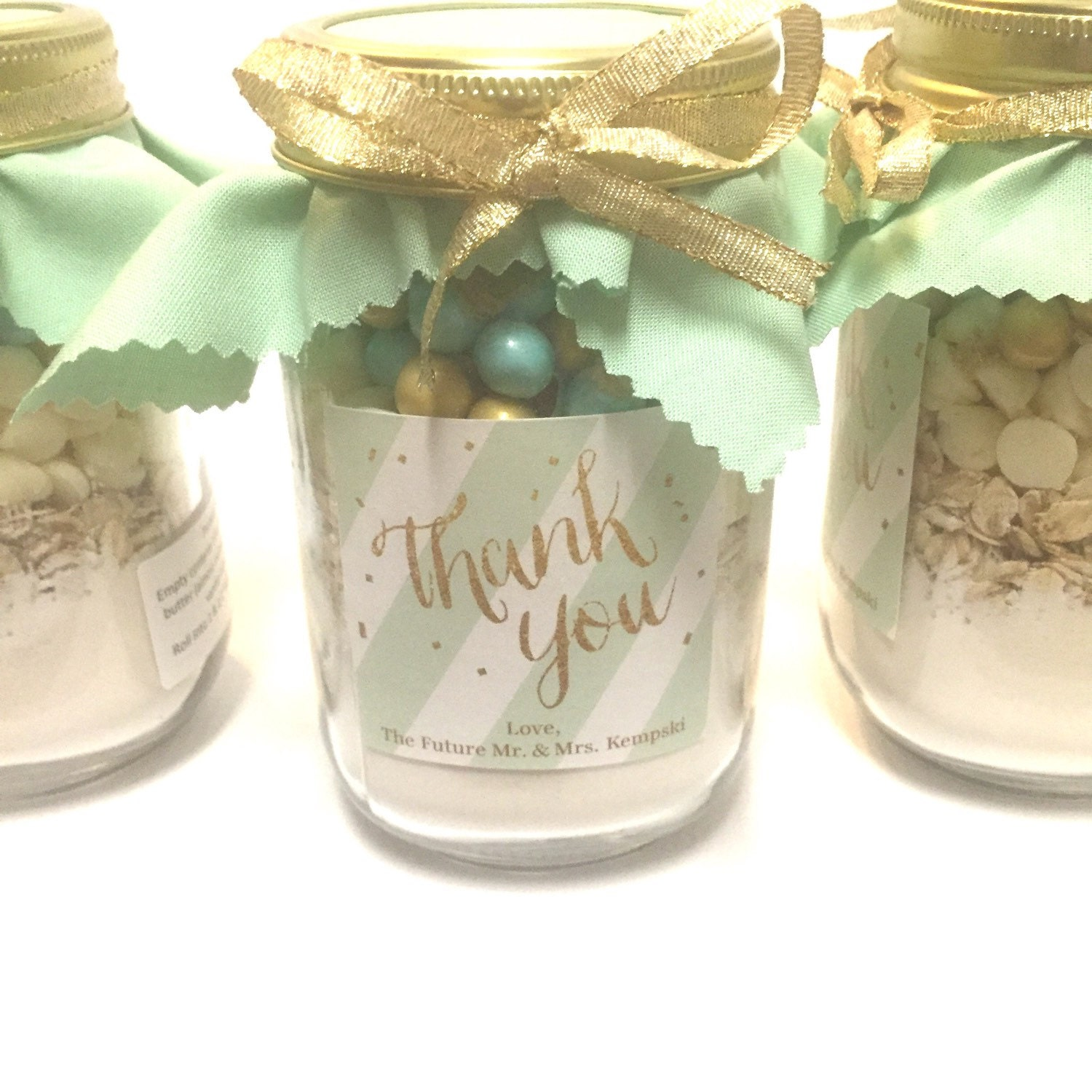 Mint and Gold Stripped Mason Jar Cookie Mix Thank You Favor
