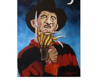 Freddy//9x12 oil painting//monster painting//surrealism//blue//red//handmade//men//women//living room art//bed room art