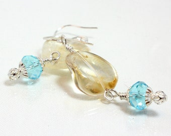 Citrine Dangle Earrings, Natural Citrine, November Birthstone, Wire Wrapped, Sterling Silver, Blue Crystal
