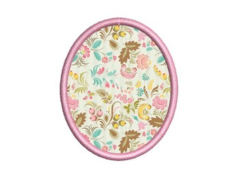 Oval Applique Frame machine Embroidery design. 6 sizes. Instant download