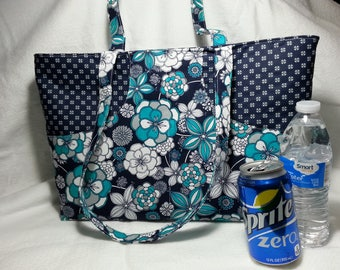 Navy Floral Tote Purse