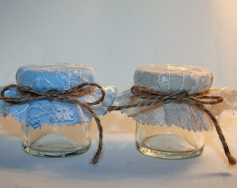 Wedding Favour Fabric for Mini Jars Plain Blue Beige Lace Overlay Baby Shower