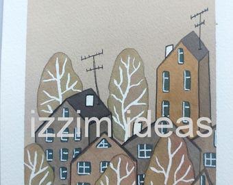 Original hand painted watercolour illustration - trees houses landscape