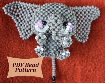 Beading patterns, how to make elephant,  3d beading tutorial, animals bead patterns, beaded keychains patterns, 3d beaded animals