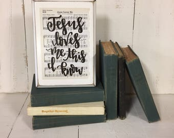 Jesus Loves Me Hymn Board hand lettered wood sign