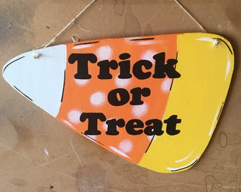 Two-sided Candy Corn Trick or Treat Door Hanger