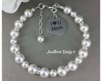 I Love You Mom Charm Bracelet Gift for Mothers Day Gift Swarovski Pearl Bracelet Jewelry Gift Idea Birthday Gift