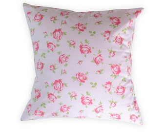 Pink Roses Pillow Cover - Shabby Chic Pillow Cover - Floral Nursery Pillow
