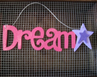 Dream and Star Wall Hanging Sign Plaque Pink