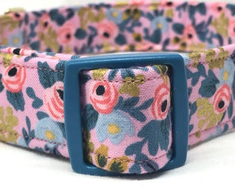 Rifle Paper Co. Dog Collar Les Fleurs Fabric Wedding Pink Flowers Metallic Gold Violet