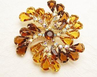 Gold Rhinestone Brooch Pinwheel Unique Vintage Jewelry