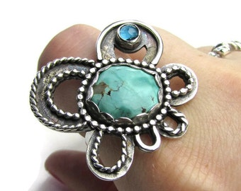 Large Turquoise Sterling Silver Ring - Sterling Silver Gemstone Oxidized Ring - Sterling Stone Ring Size 9