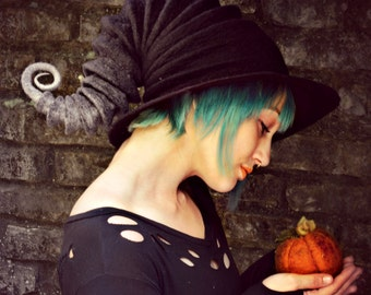 "Costume Hat. ""Storm"" Witch Hat. Wizard Hat. Fantasy Hat. Cosplay Hat. LARP."