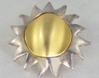 Silver & Gold Sun Brooch Celestial Brooch