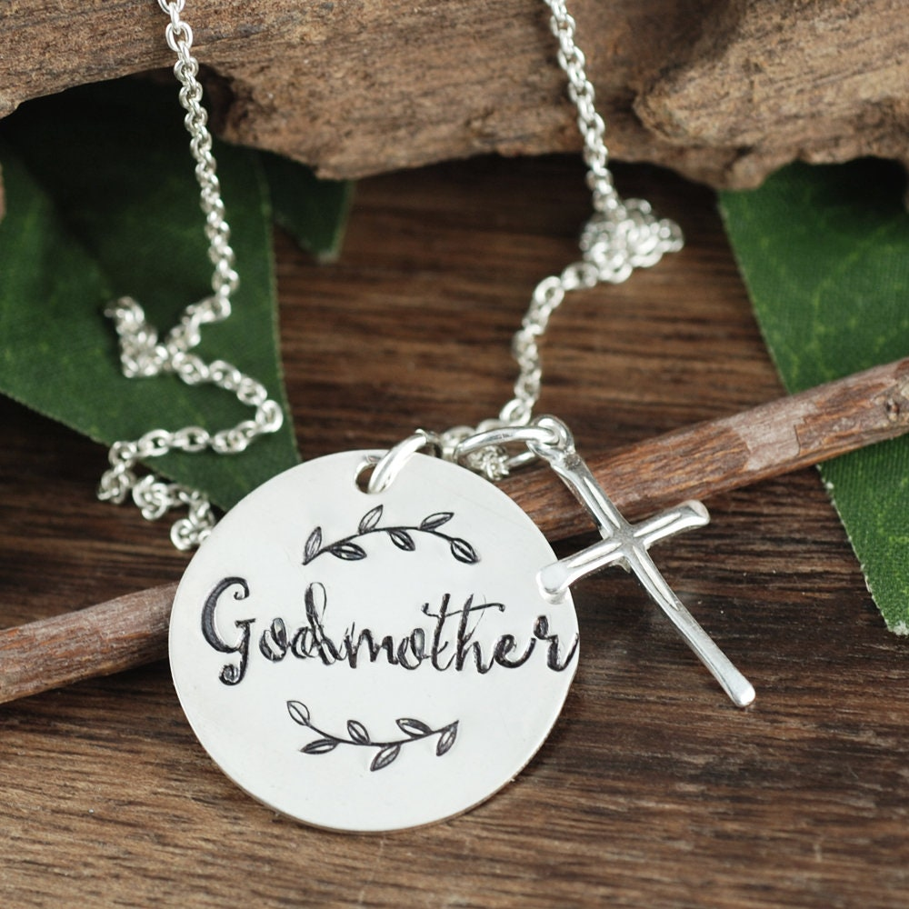 Godmother necklace godmother gift hand stamped necklace godmother godmother necklace godmother gift hand stamped necklace godmother jewelry cross necklace baptism gift for godmother gift for her aloadofball Gallery