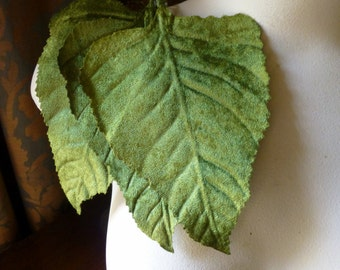 3 Green Leaves Velvet Large  for Bridal, Headbands, Fascinators, Hats, Crafts Ml 53