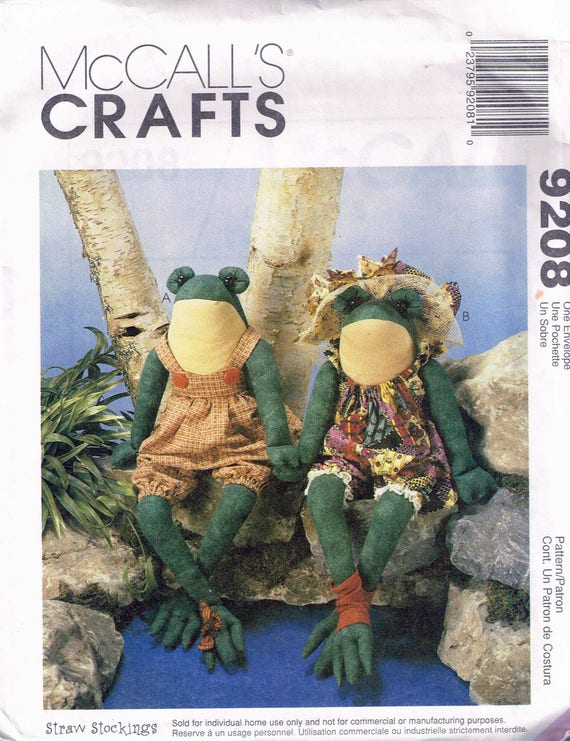 Craft Sewing Pattern - Sitting Frog Doll Sewing Pattern - Frog Soft ...