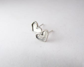 Silver stud earrings, Sterling silver earrings, Tiny earrings, Girl earrings, Heart earrings, Small silver earrings, Cute post earrings